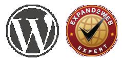 WordPress logo og expand2web sertifisering