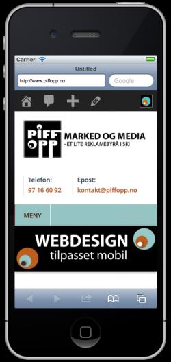 Eksempel mobiltilpasset nettside på iPhone 5. Foto.